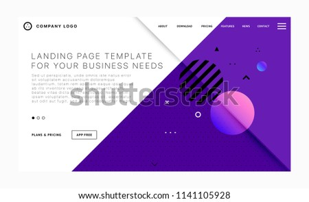 Landing page template with trendy modern geometric patterns, elements and shapes for business website design. Eps10 vector illustration