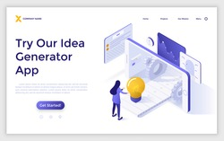 Landing page template with woman standing at smartphone and conveyor belt with light bulb. Concept of mobile application for innovative idea generation. Isometric vector illustration for website.