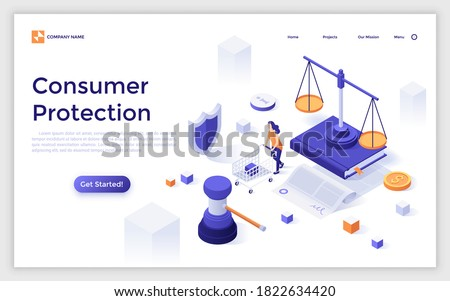 Landing page template with woman with cart, scale of justice, gavel. Concept of legal consumer protection, customer security, safety of purchase, safeguarding buyers. Isometric vector illustration.