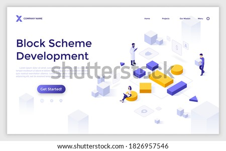 Landing page template with woman working on computer and man carrying cube to build tree diagram. Concept of block scheme creation or modular software development. Isometric vector illustration.