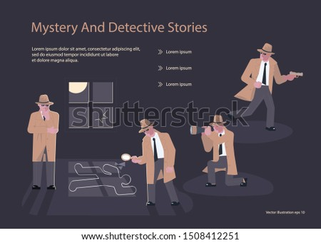 Landing page templates for Detective blog or agency. Private Investigators or Police Detectives characters at Work Investigating and Solving Crimes.  Flat Art Vector illustration