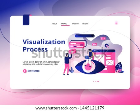 Landing page Visualization Process, the concept of men using laptops in front of the board, can be used for landing pages, web, UI, banners, templates, backgrounds, flayer, posters - Vector