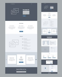 Landing page website template. Modern responsive design. UX/UI mockup layout for development.