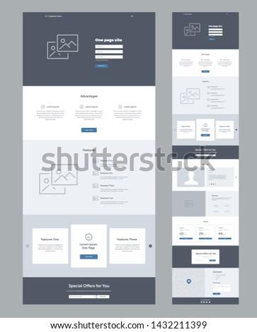 Landing page website template. Modern responsive design. UX/UI mockup layout for development.