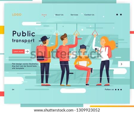 Landing page. Website Template. Public transport. Flat design vector illustration #1309923052