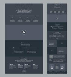 Landing page wireframe dark design for business. One page website layout template. Modern responsive design. UX UI website: features, video, timeline, advantages, articles, testimonials, pricing.