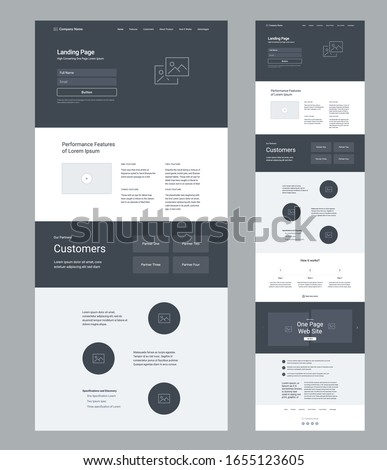 Landing page wireframe design for business. One page site layout template. Modern responsive design. UX UI website: features, partners, video, articles, specification, how it works, gallery.