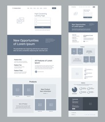 Landing page wireframe design for business. One page website layout template. Modern responsive design. Ux ui website: features, product, articles, statiscics, testimonials.