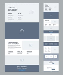 Landing page wireframe design for business. One page website layout template. Modern responsive design. Ux ui website: features, video, gallery, testimonials, call to action, subscribe, contact us.