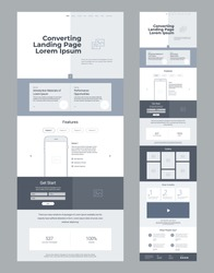 Landing page wireframe design for business. One page website layout template. Modern responsive design. Ux ui website: features, form, statistics, gallery, how it works, testimonials.