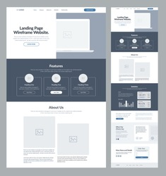 Landing page wireframe site design for business. One page web site layout template. Modern responsive design. UX UI website: home, features, about, statistics, testimonials and order form.