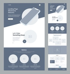 Landing page wireframe site design for business. One page web site layout template. Modern responsive design. UX UI website: home, advantages, about, options, gallery, video, articles and subscribe.