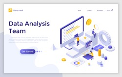 Landing page with giant computer, charts diagrams, graphs and group of tiny people or analysts. Data analysis team, statistical analytics, market research. Modern isometric vector illustration.