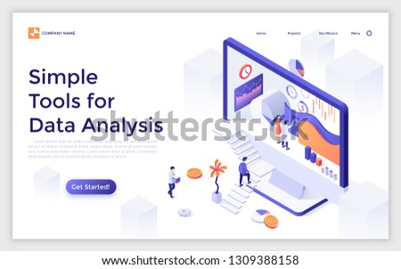 Landing page with giant computer display and people ascending stairs and analyzing statistical information. Simple tools for big data analysis. Modern isometric vector illustration for website.