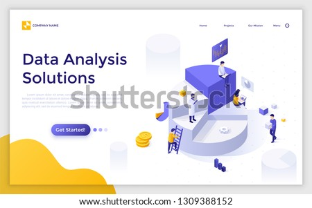 Landing page with giant pie chart and analysts analyzing statistical or financial information. Big data analysis solutions. Modern isometric vector illustration for website, web page, advertisement.