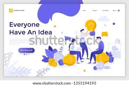 Landing page with group of employees with laptops working on startup project and giant lightbulbs. Concept of teamwork, innovative business idea, brainstorming. Flat vector illustration for website.