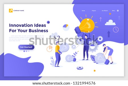 Landing page with group of people, clerks or office workers carrying giant light bulbs. Innovative ideas for business, creativity and brainstorming, insight at work. Modern flat vector illustration.