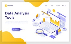 Landing page with laptop computer, charts diagrams, graphs and place for text. Tools for data analysis, statistical or financial analytics. Creative isometric vector illustration for advertisement.