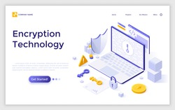 Landing page with laptop computer, cryptographic protocol, shield, lock and key. Encryption technology, secure data transmission, protection of information. Modern isometric vector illustration.