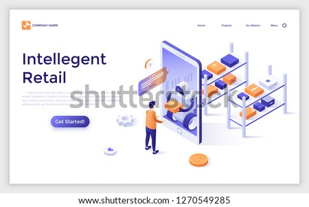 Landing page with man standing in front of giant smartphone and receiving his internet order from robot. Concept of intelligent retail, automatic fulfillment center. Isometric vector illustration.