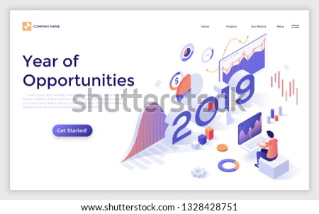 Landing page with 2019 number and analyst monitoring statistical or financial market indicators, diagrams, charts. Year of opportunities in statistics and data analysis. Isometric vector illustration.