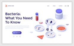 Landing page with people in lab coats and Petri dishes with bacterias. Bacteriology experiment, microbiology scientific research. Isometric infographic design template. Modern vector illustration.
