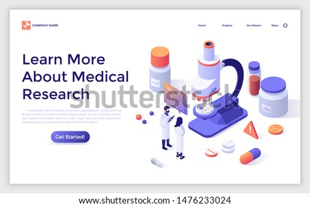 Landing page with researchers in lab coats, microscope, pills, test tubes. Medical research, scientific laboratory experiment, chemical analysis. Isometric design template. Vector illustration.