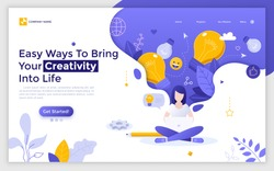 Landing page with woman sitting with crossed legs, working on laptop computer and light bulbs. Concept of idea creation, innovative thinking, creativity. Flat vector illustration for web banner.