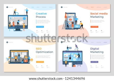 Landing pages design. Business creative website construction advertizing agency mobile pc development designing layout vector template