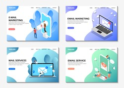Landing pages. Email marketing, email service, mail services. Set of web pages. Modern web pages for web sites.