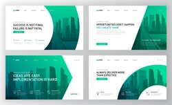Landing pages templates set for real estate with  cityscape vector illustration on background. Brochure cover, powerpoint presentation template.