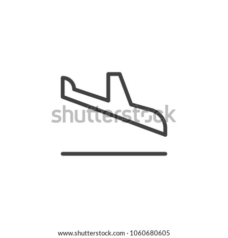 Landing plane outline icon. linear style sign for mobile concept and web design. Arrival airplane simple line vector icon. Symbol, logo illustration. Pixel perfect vector graphics