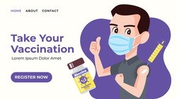 Landing web page template of Vaccination Registration. Modern flat design web banner of male take vaccine injection and showing thumb up. Syringe with needle and vaccine bottle floating around.