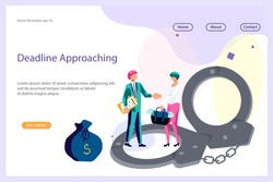 Landing web page template with Cocept of Corruption and Bribery in business. Business people shake hands after making a deal in exchange for a portfolio of money. Flat Art Vector illustration