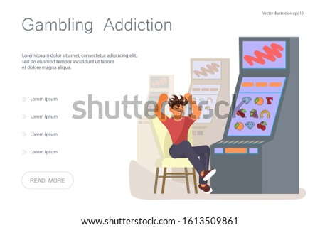 Landing web page template with Game addiction concept. Furious man is lose everything, during slot machines game in the casino. Flat Art Vector illustration