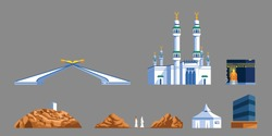 Landmark flat  icon of Mecca's gate and  Hajj pilgrim progress rite.