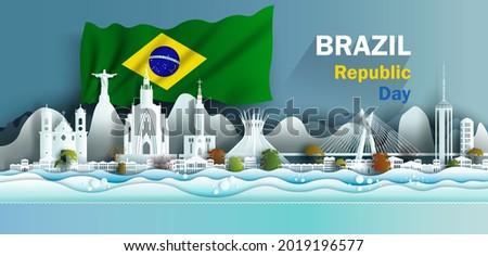 Landmark illustration anniversary celebration Brazil day with brazilian flag background. Travel landmarks city architecture in Rio de Janeiro in paper art, paper cut style. Vector illustration