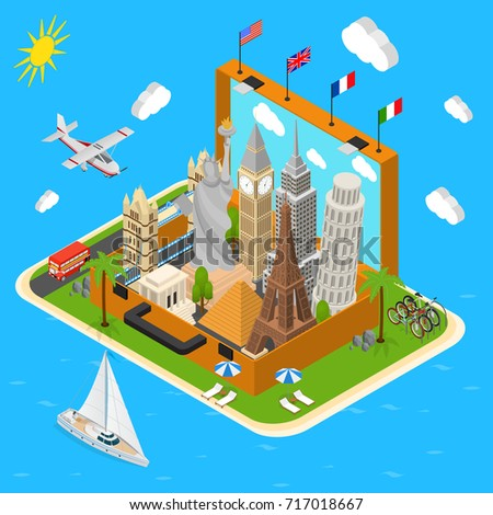 Landmarks in Open Vintage Travel Suitcase Tourism Concept Isometric View Monuments of America, France. Vector illustration of Landmark in Case