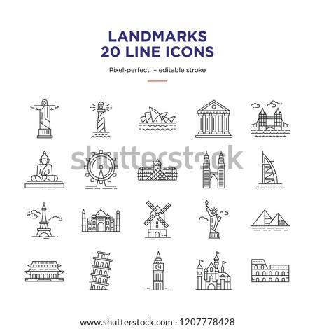 Landmarks Line Icons