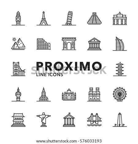 Landmarks Modern Futuristic Line Vector Icons