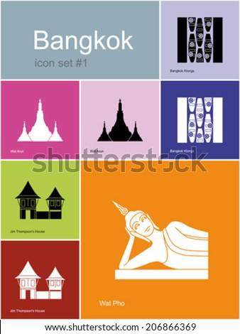 landmarks of bangkok set of