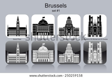 landmarks of brussels set of