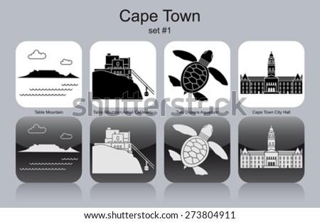 landmarks of cape town set of