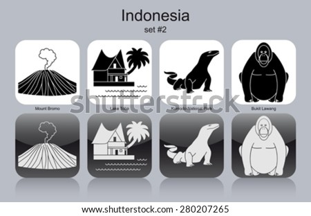landmarks of indonesia set of