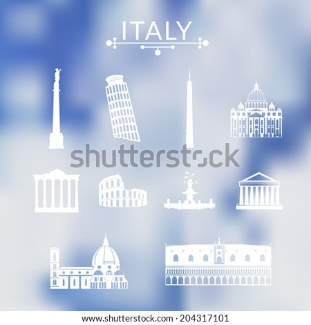 landmarks of italy  vector