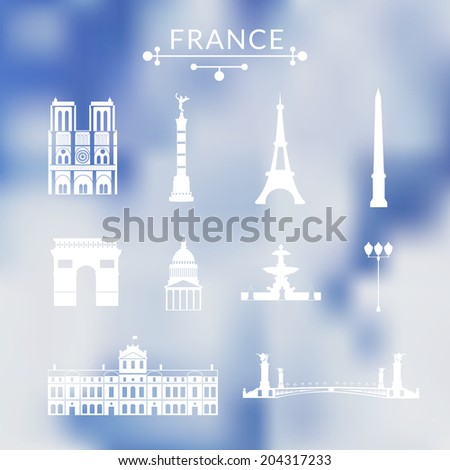 landmarks of paris  vector