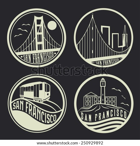 landmarks of San Francisco vintage labels set