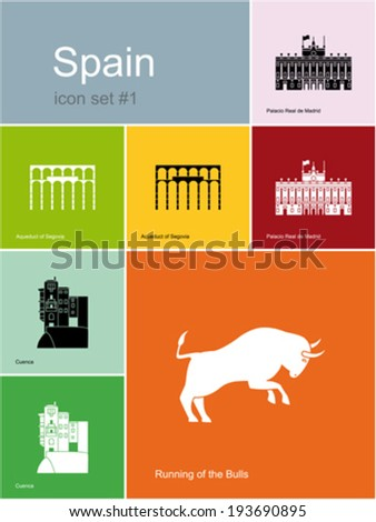 landmarks of spain set of flat
