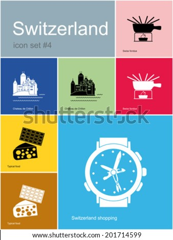 landmarks of switzerland set