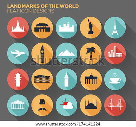 landmarks of the world  flat